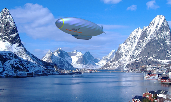 Airship hovering over fjord